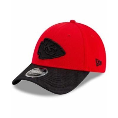 ニューエラ メンズ 帽子 アクセサリー Men's Red Black Kansas City Chiefs 2021 NFL Sideline Road 9Forty Adjustable Hat Red