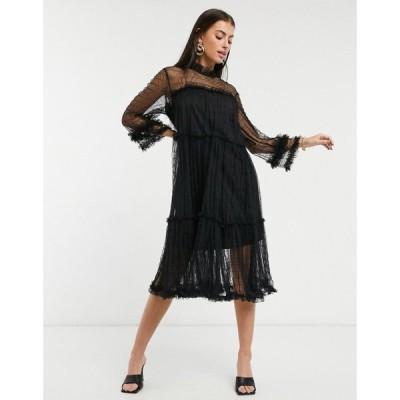 ワイ エー エス Y.A.S レディース ワンピース ワンピース・ドレス sheer smock dress with high neck and ruffle trims in black ブラック