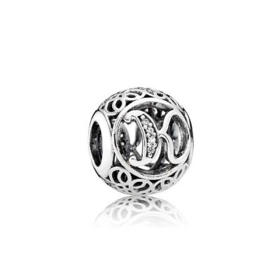 チャーム チャームブレスレット パンドラ Authentic Pandora Charm Sterling Silver Vintage Letter K Clear CZ 791855CZ