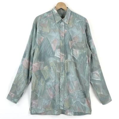 【古着】 総柄シャツ レーヨンシャツ 手書き風 ヴィンテージ 長袖 グリーン系 メンズL 【中古】 n025200