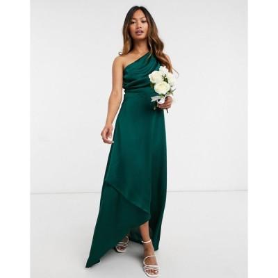 ティーエフエヌシー ミディドレス レディース TFNC Bridesmaid one shoulder maxi dress in green  エイソス ASOS sale グリーン 緑