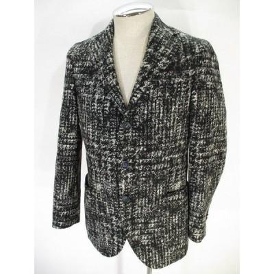 【中古】FLANNEL BAY 美品 ウール テーラード ジャケット シングル 3B サイドベンツ 黒 ブラック 44 メンズ 【ベクトル 古着】