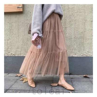 ロングロングスカートマキシスカートレディースファッションスカートボトムス大きいサイズゆったりチュール春スカート春韓国ファッションレディ