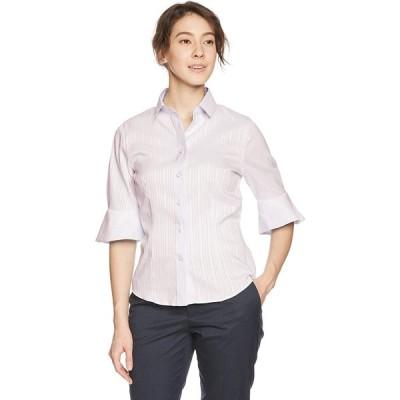 (ナラ カミーチェ)NARA CAMICIE サテンストライプフレア5分袖シャツ 10-81-02-038 71 ピンク 0
