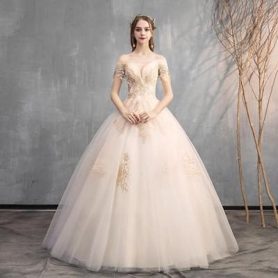 ウエディングドレス レディース プリンセスドレス 編み上げ 白い ブライダルドレス 花嫁 Aライン ロング丈 演奏会 前撮り ドレス