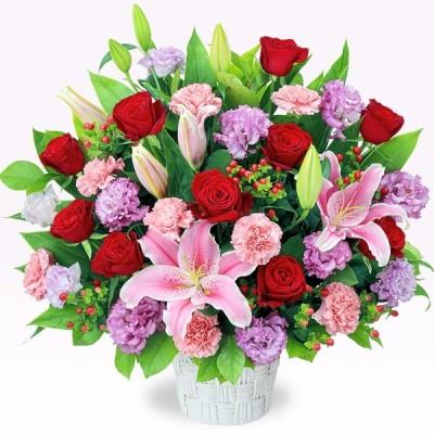 開店祝い・開業祝い 花 ギフト お祝い プレゼント花キューピットのピンクとレッドの華やかアレンジメント