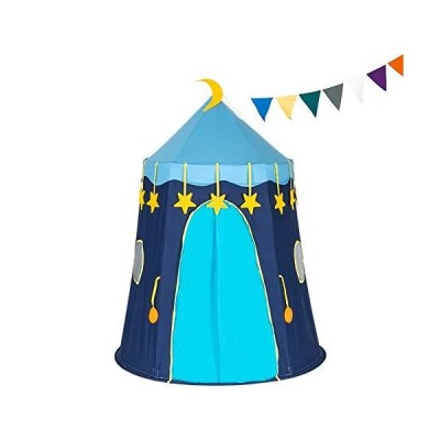 LOMAX Childrens Tents ,Tent for Kids Blue Cotton Yurt Tent with Small Colorful Flags,Toys Tent Kids Play Tent Kids Tent Play Tent (Color