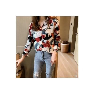 トップス シャツ ブラウス レディース 花柄 薄手 上着 長袖 体型カバー きれいめ 安い 可愛い ベーシック リゾートお出かけ プリント
