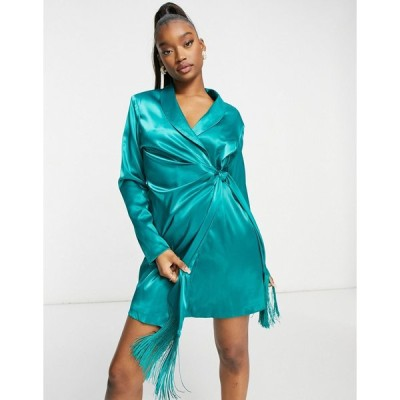 セントジニーズ ミニドレス レディース Saint Genies blazer dress with fringe detail in emerald green エイソス ASOS グリーン 緑
