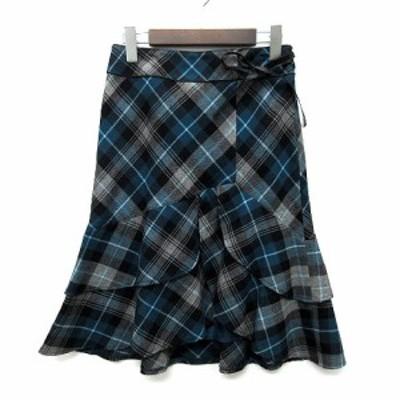 【中古】クミキョク 組曲 KUMIKYOKU チェック ラッフルヘム フリル スカート 膝丈 リボン ブルーグリーン グレー 2 レディース