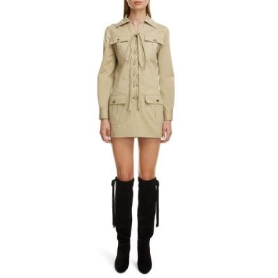 イヴ サンローラン SAINT LAURENT レディース ワンピース レースアップ ワンピース・ドレス Lace Up Long Sleeve Minidress Beige Vintage