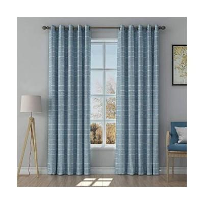 ChadMade Jaquard Extra Wide Curtain Geometric Pattern Design Grommet Curtain Room Darkening Window Curtain Panel, 96 Inch Long Curtain Celes