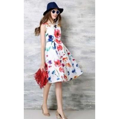 ワンピースドレス 春夏 デート 大きいサイズ 20代 ひざ丈 ノースリーブ ラウンドネック 花柄 Aライン フレア 大人可愛い カラフル