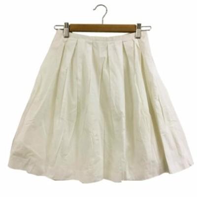 【中古】イエナ スローブ IENA SLOBE スカート フレア ひざ丈 38 白 ホワイト レディース