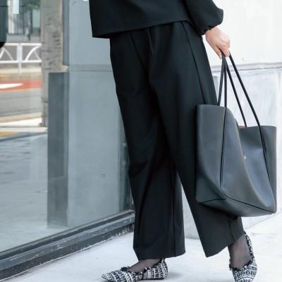 2WAYストレッチ起毛ウェアシリーズ ワイドパンツ ブラック L
