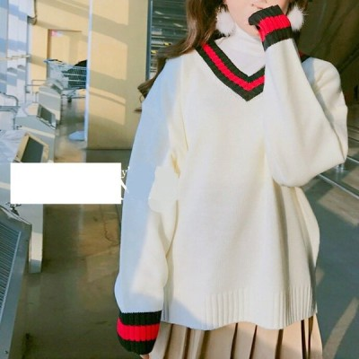 ゆったり 可愛い 学生風 Vネックセーター 海外 韓国 韓国ファッション 韓国スタイル レディース  送料無料