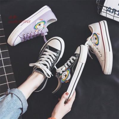 レディース スニーカー カジュアルシューズ ウォーキング 女子靴 ズック靴 フラットシューズ 可愛い ロゴ