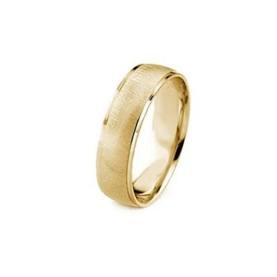 【新品】AFFINE Jewelry 14Kゴールド メンズ 結婚指輪 クロスサテン仕上げ カットポリッシュエッジ (6mm)