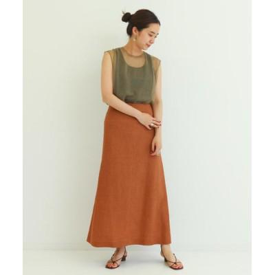 スカート メランジリネン セミマーメイドスカート
