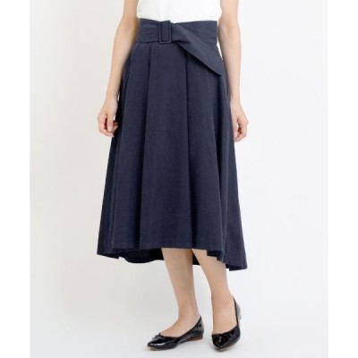 NIMES / ニーム N/Pツイルピーチ サッシュ付フレアスカート