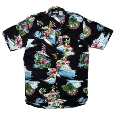 LAGUNA 開襟 アロハシャツ ハワイアンシャツ ブラックベース サイズ表記:L