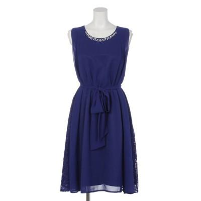【Rew de Rew】サイドレースビジューネックドレス(8R04-09001) (ブルー)