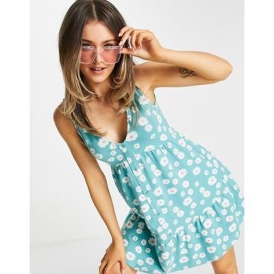 エイソス レディース ワンピース トップス ASOS DESIGN button through smock dress in green daisy floral print