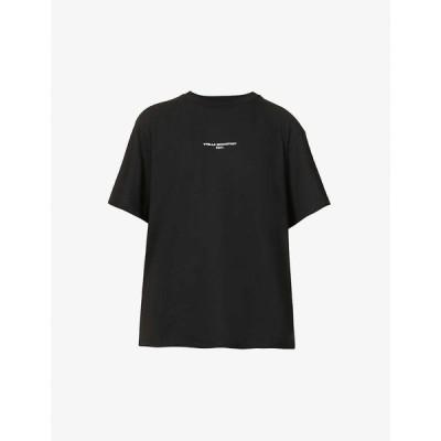ステラ マッカートニー STELLA MCCARTNEY レディース Tシャツ トップス Logo-print cotton-jersey T-shirt BLACK