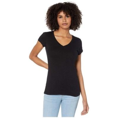 ボビ ロサンゼルス bobi Los Angeles レディース Tシャツ Vネック トップス Fitted V-Neck Tee in Slubbed Jersey Black