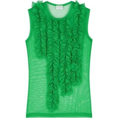 ドリス ヴァン ノッテン Dries Van Noten レディース ノースリーブ トップス Hoser Green Ruffled Tulle Top Green