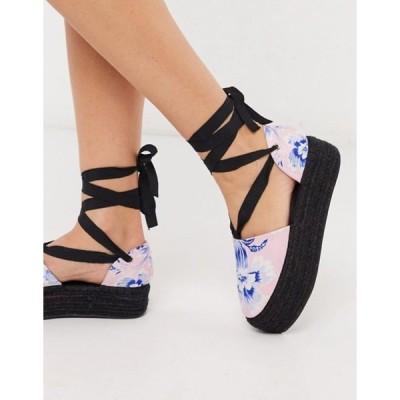 エイソス レディース パンプス シューズ ASOS DESIGN Jamie flatform tie leg espadrilles in floral print