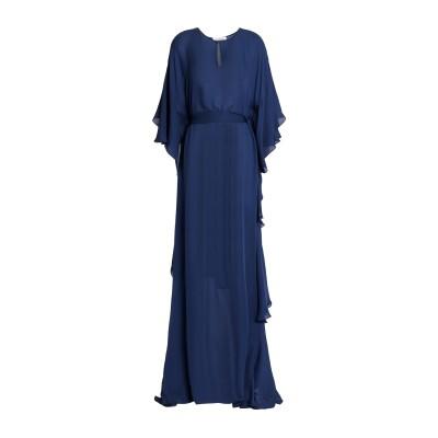 オスカー・デ・ラ・レンタ OSCAR DE LA RENTA ロングワンピース&ドレス ダークブルー M シルク 100% ロングワンピース&ドレス