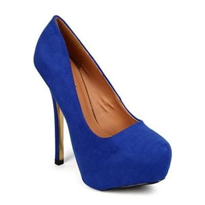 キューピッド レディース パンプス Qupid FK15 Women Faux Suede Almond Toe Platform Gold Bottom Stiletto Pump - Cobalt Blue