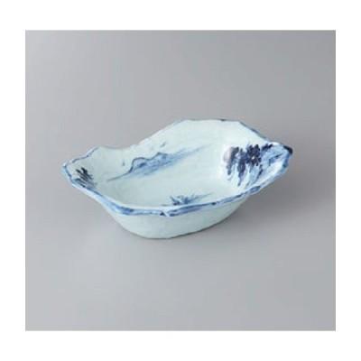 鉢 小鉢 手描き山水手作り風舟型鉢