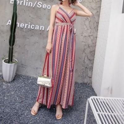 キャミソール マキシ丈 ワンピース☆リゾートドレス エスニック柄 ビーチリゾート ロング丈 XLあり