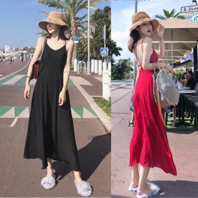 春夏 ドレス ロングドレス ワンピース サマードレス ビーチワンピース 無地 ブラック ノースリーブ