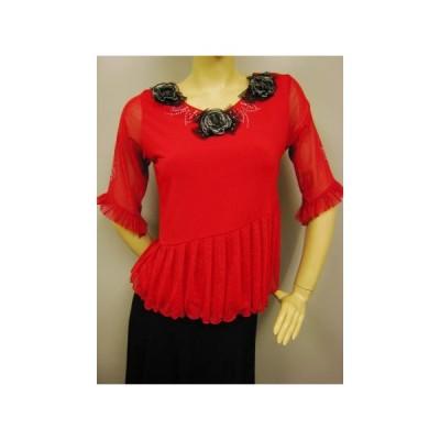 社交ダンス コーラス衣装 ダンスストップス レディース ダンスウェア 衣装  赤