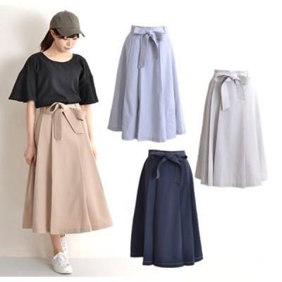 ロングスカート フレアスカート おしゃれ スカート 可愛い 在庫限り ウェストリボンタックフレアスカート