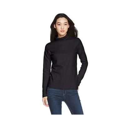 セシール Tシャツ レギュラー丈 UVカット ルーズネック 綿100% MU-567 レディース ブラック S