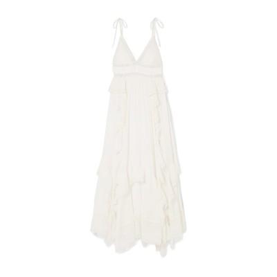 ULLA JOHNSON ロングワンピース&ドレス ホワイト 10 コットン 100% ロングワンピース&ドレス