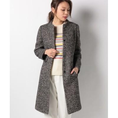 【アバン】 アルパカ混ウール織柄コート レディース ネイビー 9 AVANT
