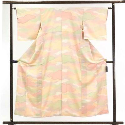 リサイクル着物 小紋 正絹パステルカラー雲取り柄袷小紋着物未使用品