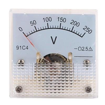 uxcell アナログ電圧計 パネルメーター プラスチック製 クリアホワイト 9991C4 DC 0-250V