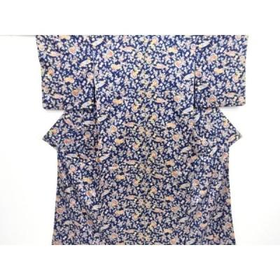 宗sou 源氏車に草花模様小紋着物【リサイクル】【着】