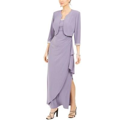 アールアンドエムリチャーズ ワンピース トップス レディース Cropped Jacket & Ruffled Gown Orchid Purple