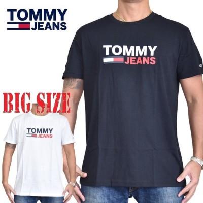 大きいサイズメンズ トミーヒルフィガージーンズ TOMMY HILFIGER JEANS クルーネック 半袖Tシャツ ブラック 黒 ホワイト 白 XL XXL [M便 1/1]