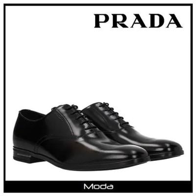 プラダ シューズ メンズ 黒 ブラック PRADA 靴 ロゴ  ドレスシューズ