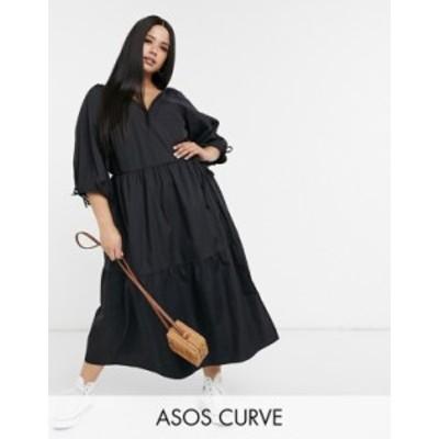 エイソス レディース ワンピース トップス ASOS DESIGN Curve cotton poplin smock wrap midi dress in black Black