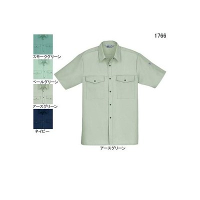 自重堂 1766 製品制電ストレッチ半袖シャツ L・アースグリーン039 作業服 作業着 春夏用