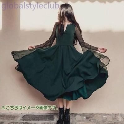 [通常配送商品]ドレス フレア シフォン ロング ホーンスリーブ 深いグリーン